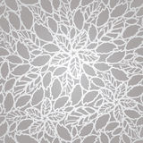 Seamless silver leaves and flowers lace wallpaper pattern Stock Images