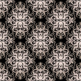 Seamless silver ornamental Pattern on black. Stock Image