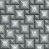 Seamless silver pyramid 3d pattern of squares Stock Photo