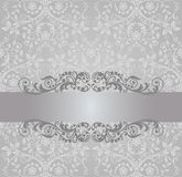 Seamless silver wallpaper and vintage banner Royalty Free Stock Photos