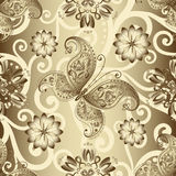 Seamless silvery floral pattern Royalty Free Stock Photos