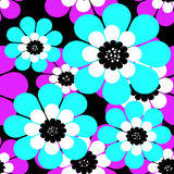 Seamless simple cartoon pattern with flowers Stock Image