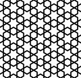 Seamless simple geometric pattern with six-pointed stars and hexagons. Seamless pattern in black and white in thick lines.The six-pointed stars and hexagons Royalty Free Illustration