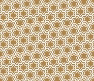 Seamless simple geometric pattern with six-pointed stars and hexagons. Seamless pattern in gold background and white average thickness lines.The six-pointed vector illustration