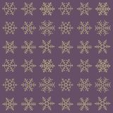 Seamless simple pattern of different blue geometric snowflakes. Seamless simple pattern of different  geometric snowflakes on purple dark background Royalty Free Stock Photography