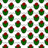 Seamless simple pattern with flower, rose, stems, zig zag. Vector seamless simple pattern with flower, rose, stems, zig zag Royalty Free Stock Photo