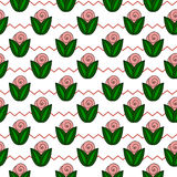 Seamless simple pattern with flower, rose, stems, zig zag Stock Photography