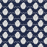 Seamless simple pattern with flower, rose, stems, zig zag. Vector seamless simple pattern with flower, rose, stems, zig zag Stock Images