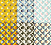 Seamless simple retro geometrical pattern of classic style. Set of geometry patterns of 70s with color variations Stock Photos