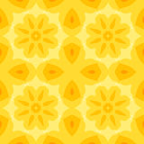 Seamless simple texture with a yellow flower and stylized orange leaves. Pattern. Suitable for print on textiles, bed sheets, tablecloths, wrapping paper Royalty Free Stock Photo