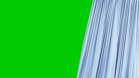 Seamless Single Blue Curtain Opening and Closing. Beautiful Looped 3d Animation Abstract Realistic Curtain Revealing. Background Green Screen. Useful for stock footage
