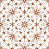Seamless of six angle stars and big flowers Royalty Free Stock Photo