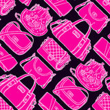 Seamless sketch black and pink handbags Stock Photography