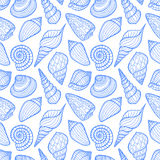Seamless sketch blue seashells Stock Image