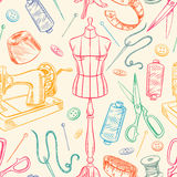Seamless sketch colorful tailoring equipment. Seamless background with colorful sketch tailoring equipment. mannequin, sewing, sewing machine. hand-drawn Stock Images