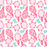 Seamless sketch dragon fruit Stock Photography
