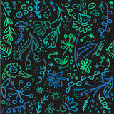 Seamless sketch floral pattern in turquoise and green colors. Royalty Free Stock Photo