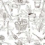Seamless sketch with gardening tools Royalty Free Stock Photography