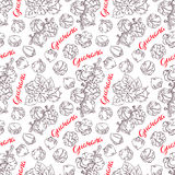 Seamless sketch guarana. Beautiful seamless background of sketch guarana. hand-drawn illustration royalty free illustration
