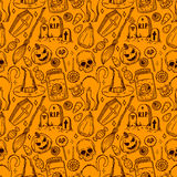 Seamless sketch Halloween pattern Royalty Free Stock Photography