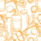 Seamless sketch macadamia oil Royalty Free Stock Images