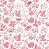 Seamless sketch meat products Royalty Free Stock Photo