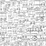 Seamless sketch pattern for street trade Stock Images
