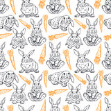 Seamless sketch rabbits and carrots Stock Photography