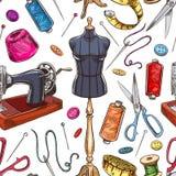 Seamless sketch tailoring equipment Stock Photo