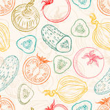 Seamless sketch vegetables Stock Images