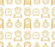 Seamless sketch vintage clock Royalty Free Stock Photography