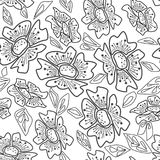 Seamless sketched flowers floral pattern on white Stock Image