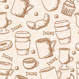 seamless sketchy doodle style coffee pattern Royalty Free Stock Image