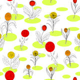 Seamless Sketchy Flower Pattern Stock Images