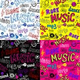 Seamless Sketchy music backgrounds. Vector background include three more color variations Stock Image