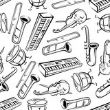 Seamless sketchy musical instruments pattern Royalty Free Stock Photography