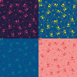 Seamless skull patterns set. Four color variations Stock Photo