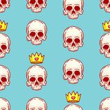Seamless skulls and crowns Royalty Free Stock Photo