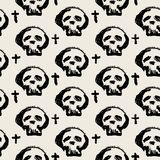 Seamless skulls textile doodle pattern grunge texture. Trendy modern ink artistic design with authentic,unique scrapes, watercolor blotted background for a logo Stock Photography