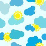 Seamless sky background. Clouds and sun vector repetitions Royalty Free Stock Photo