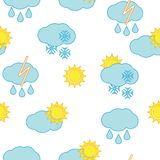Seamless sky background. Clouds and sun vector repetitions Stock Photos