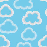Seamless sky background with 3d clouds. Abstract light blue sky background with 3d clouds. Seamless pattern for your design. Vector illustration. EPS-8 stock illustration