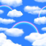 Seamless Sky Background with Rainbow. Stock Photography