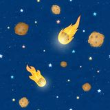 Seamless sky background with stars and meteorites. Seamless sky pattern. Stars, falling meteorites and comets with fire on blue space background, illustration Stock Image