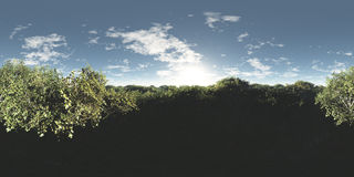 Seamless 360 Sky And Forest Landscape Panorama. Seamless 360 sky and forest panorama environment. Suitable for 3D renderings as background mapped on a sphere Royalty Free Stock Photography
