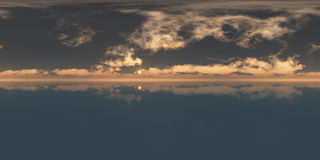 Seamless 360 Sky Panorama Sunset Royalty Free Stock Photos