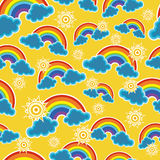 Seamless sky with rainbow. Seamless background with skies, clouds and rainbows Stock Images