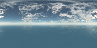 Seamless 360 Sky And Sea Panorama Daytime Stock Images