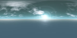 Seamless 360 Sky And Sea Panorama Daytime Stock Photos