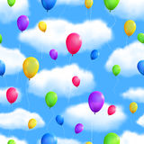 Seamless Skyes Background with Balloons. Royalty Free Stock Photography